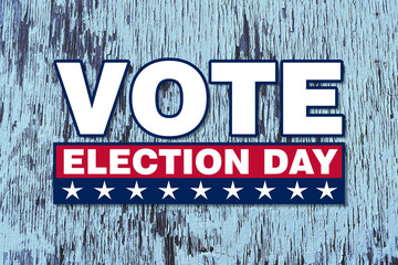 america vote election day graphic with white text and stars red box with faded blue wood