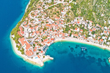 Igrane village on Makarska riviera aerial view