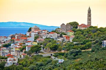 Igrane village on Makarska riviera sunset view