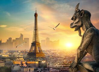 Stone Chimera and Eiffel Tower