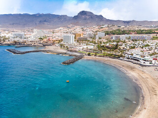 Aerial view with Las Americas beach at Costa Adeje, Tenerife, Canary