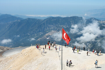 View from the observation deck of mount Tahtali on the mountain range of the southern coast of Turkey.