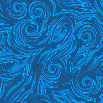 Vector watercolor seamless pattern drawn with a brush on a blue background for decor.Smooth lines with torn edges in the form of spirals of corners and loops.