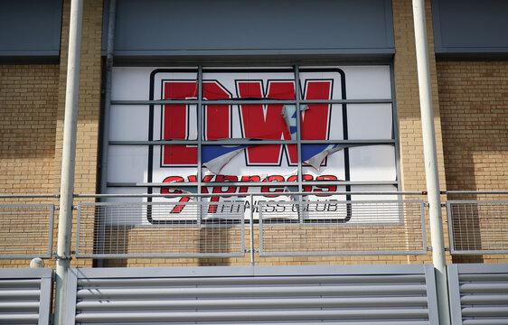 The DW Sports logo is seen at its fitness club in Winsford