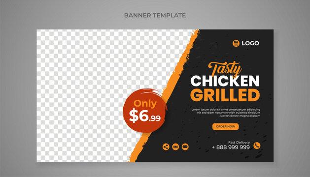 Tasty chicken grilled food banner template
