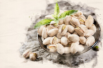 Tasty roasted pistachios waterpaint image