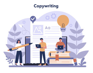 Copywriter concept. Idea of writing texts, creativity and promotion.
