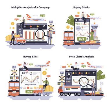 Transportation sector of the economy online service or platform set.