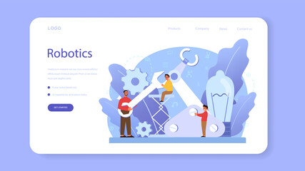 Robotics school subject web banner or landing page. Robot