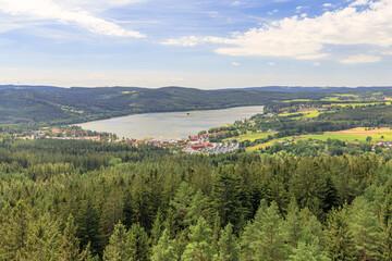 View from Stezka korunami tree path to Lipno nad Vltavou in Czech Republic