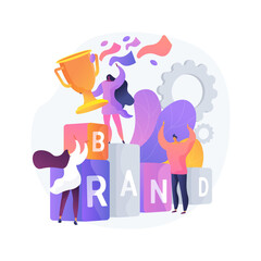 Branded competition abstract concept vector illustration. Marketing competitive event, company-sponsored contest, brand identity, rebranding media campaign, digital advertising abstract metaphor.
