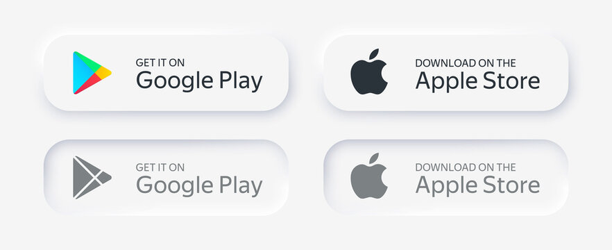 MOSCOW, RUSSIA - AUGUST 03, 2020: Buttons Google Play Store and Apple App Store. Neumorphism light design. State: Normal, Active, Hover. Vector illustration EPS10