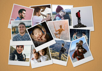 Instant Photos Collage Mockup