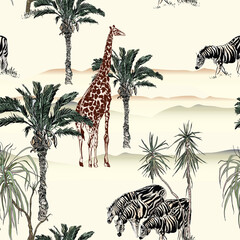 Safari Landscape Giraffe, Zebras Wildlife in Palms Desert Africa, Children Wallpaper Design Seamless Pattern, Nursery Hand Drawn Illustration Nude Colors,