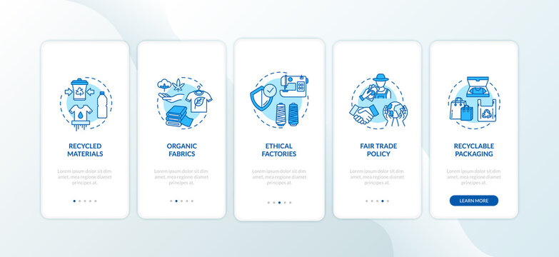 Zero waste material production onboarding mobile app page screen with concepts. Environmental protection walkthrough 3 steps graphic instructions. UI vector template with RGB color illustrations