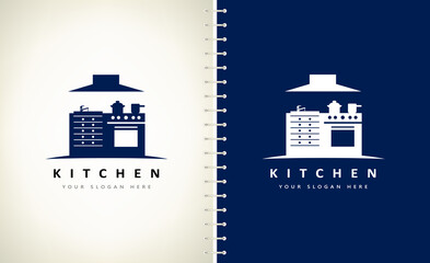 Kitchen furniture logo vector. Furniture, dishes and household appliances.  Cooker and range hood.