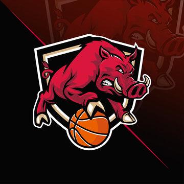 Hog with basketball mascot logo
