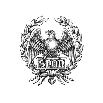SPQR Symbol of the Roman Empire with Aquila Eagle and Laurel Wreath. Hand Drawn Vector Illustration