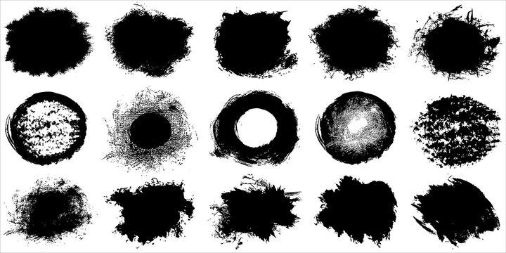 Vector paint blots set. Paint splatter pattern.