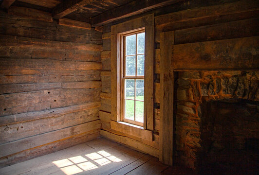 Interior log cabin window looking outward with sunlight shining in from an angle