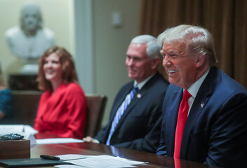 U.S. President Trump holds executive order signing event in the Cabinet Room of the White House in Washington