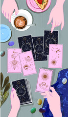A session with a fortune teller with tarot cards, drink coffee and wait on arcane cards at the mystical guide, moon and sun tarot cards, Hands set in simple flat esoteric boho style. gold and pink