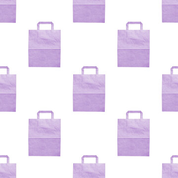 Lilac paper bags on a white background, seamless texture, top view, flat lay, mockup, copy space. Creative design for packaging, Wallpaper or screen saver. Trendy concept of shopping, stores or sales