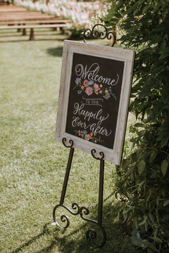 Welcome Sign at Wedding Ceremony