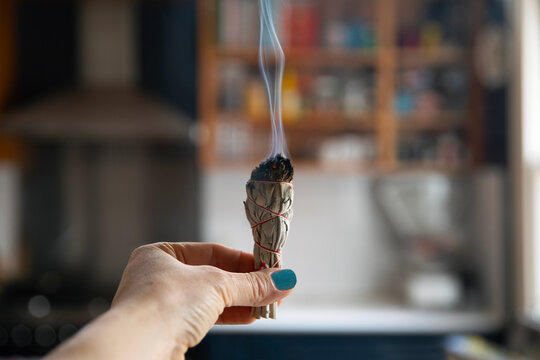 Clearing energy in home using sage / smudge stick