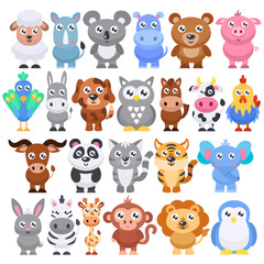 Collection of cute cartoon animals. Vector flat illustration.