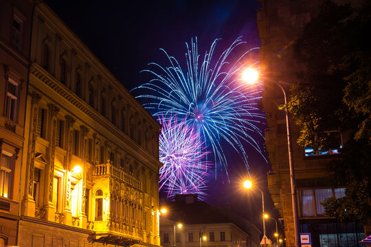 fireworks on the black sky at night, Budapest.