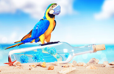 Message in a bottle with corona virus and parrot on vacation