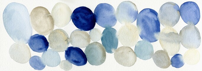 Colorful watercolor dots on white paper