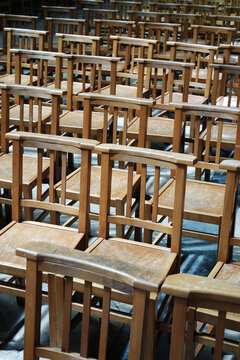 Empty church chairs