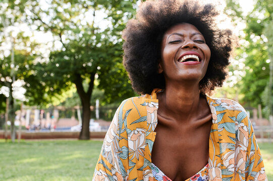 Black afro woman happiness.