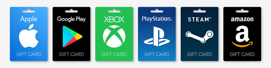 PARIS, FRANCE – AUGUST 03, 2020 : Amazon, Apple Itunes & App Store, Google Play Store, Playstation, Xbox, Steam : Gift card vector set. Isolated gift cards on white background. Editorial illustration.
