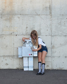 Creative Robot Girl Taking Photo with Phone
