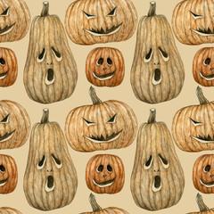 Seamless watercolor pumpkin background
