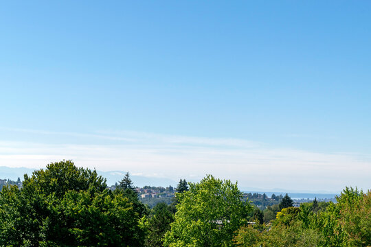 Panoramic view of the Olympic Mountain Range across from Seattle and partial view of a Seattle neighborhood with a lot of trees.