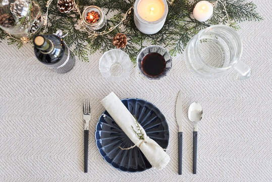 Christmas dinner table for a diner.