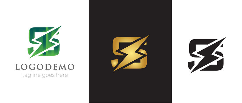 Initial letter S logo template with Power icon .This font with Electrical Bolt identity, moving and speed thunder  logo vector . Automotive monogram ,logo mark minimal,abstract concept design .