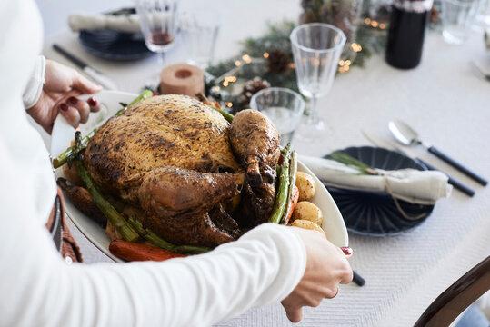 Christmas meal ready for dinner.