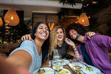 Multiethnic friends group having fun