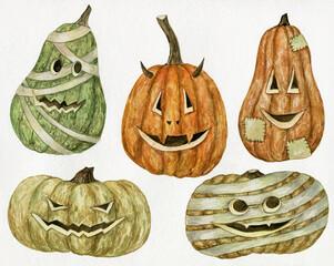 Watercolor Halloween pumpkin set