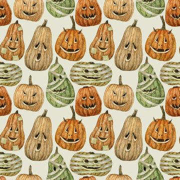 Seamless watercolor Halloween pumpkin background