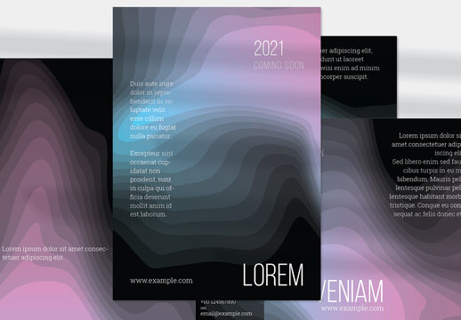 Vertical Flyer Layout with Gradient Blend Wavy Shapes on Black