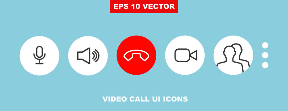 Video call chat screen ui vector buttons template for mobile phone online app. Conceptual icon set for web conference or business webinar design. User interface symbols isolated on white. V3
