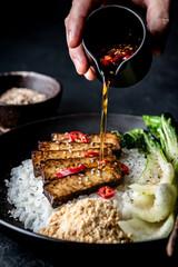 Tempeh with rice and pak choi - Vegan food