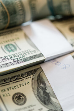 Close Up Of One Hundred Dollar Bills