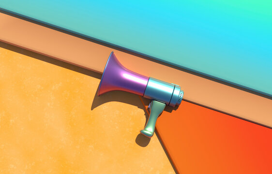 Megaphone on colorful background